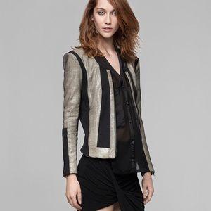Helmut Lang Rift Stretch Leather Carbon Jacket